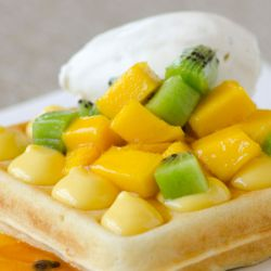 Tropical Waffle with Peach Mango Pastry Cream Image