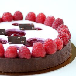 Chocolate Raspberry Flan Filling Image