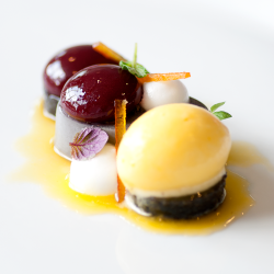 Black Sesame Cherry Plated Dessert Image